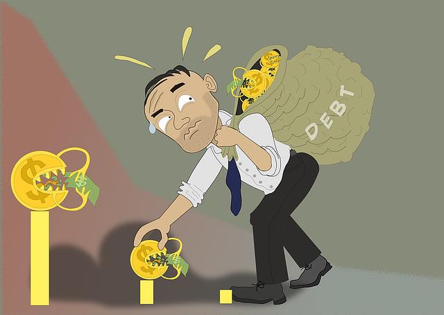 muž s pytlem dluhů